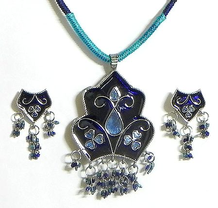 Blue Laquered Pendant with Cyan Color Cord and Post Earrings