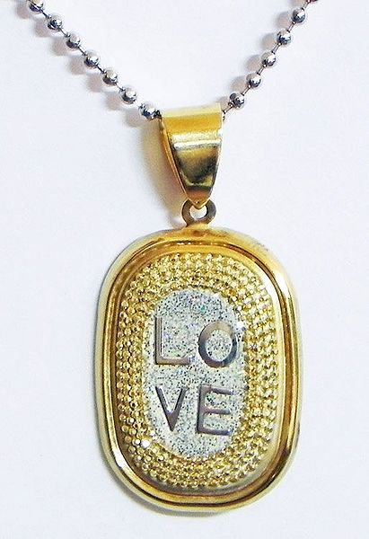 Gold Plated Pendant with Engraved Love