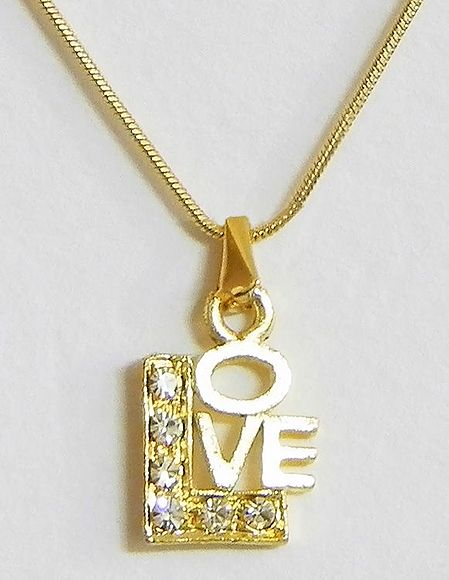 Golden Chain with Gold Plated Love  Pendant