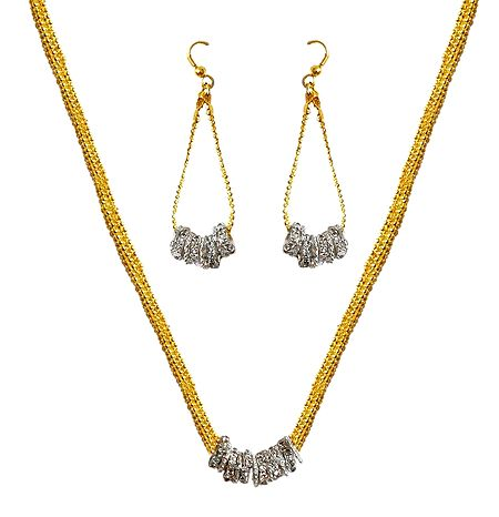Stone Studded Pendant with Chain and Earrings