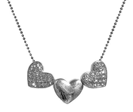 White Stone Studded Heart Pendant