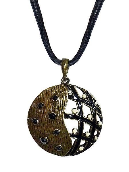 Black Corded Metal Round Pendant