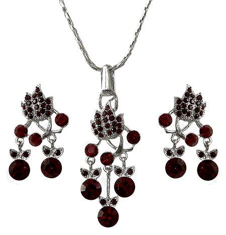 Faux Garnet Pendant and Earrings
