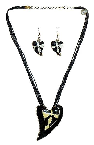 Heart Metal Pendant and Earrings
