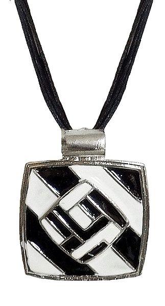 Black and White Rectangle Metal Pendant