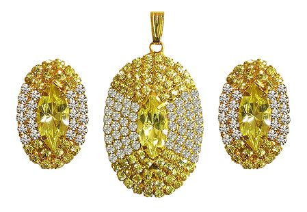 Faux Citrine and Zirconia Pendant and Earrings