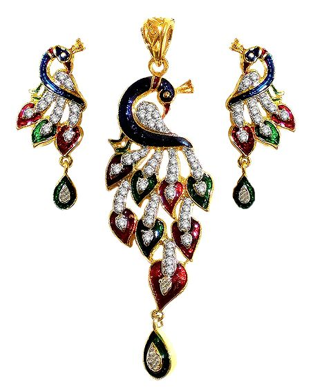 White Stone Studded Laquered Peacock Pendant and Earrings