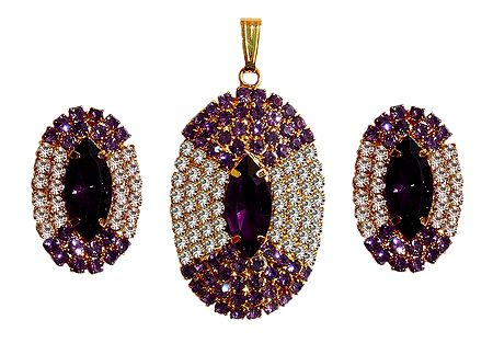 Faux Amethyst and Zirconia Pendant and Earrings