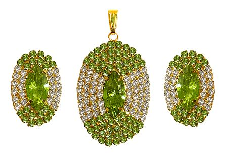 Faux Peridot and Zirconia Studded Pendant Set