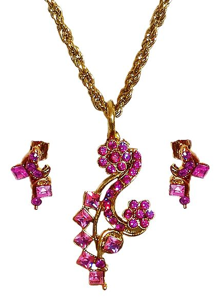 Magenta Stone Studded Pendant with Oxidized Metal Chain and Earrings