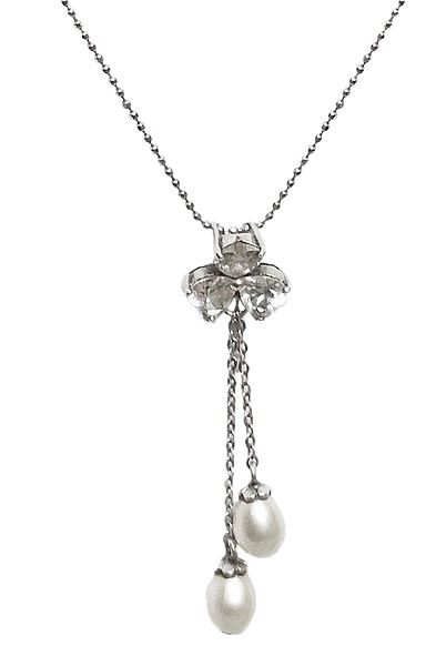 White Stone Studded Pendant with Chain