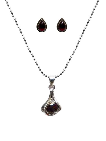 Maroon Stone Studded Pendant with Chain and Earrings