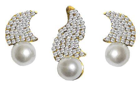 White Zirconia Studded Designer Pendant and Earrings