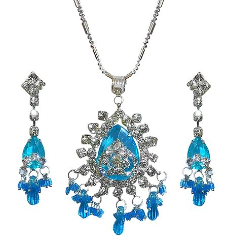 Cyan Blue Stone Studded Pendant with Chain and Earrings