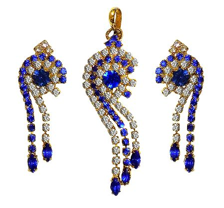 Faux Sapphire and Zirconia Studded Pendant Set