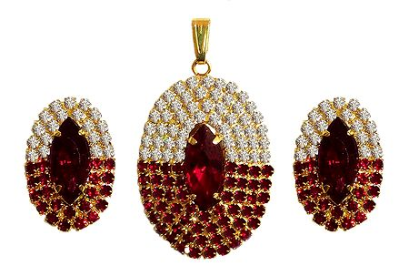 Faux Garnet and zirconia Studded Pendant Set