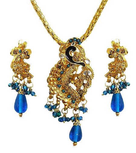 Golden Pendant with Chain and Earrings
