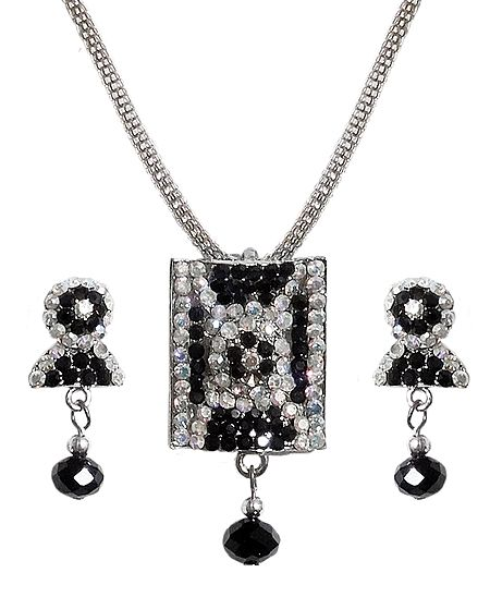 Black with White Stone Studded Pendant with Chain and Earrings