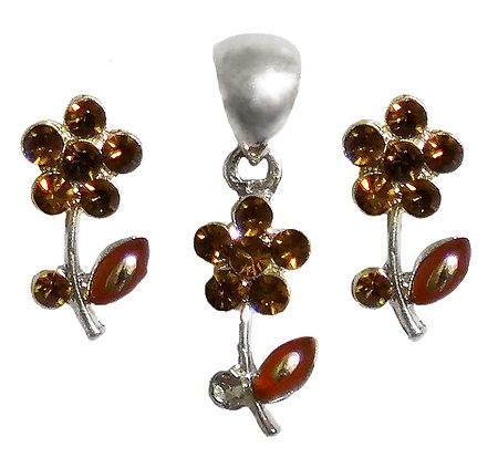Faux Citrine Studded Pendant and Earrings