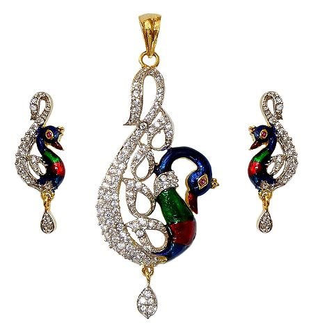 Faux White Zirconia with Gold Plated Peacock  Pendant and Earrings