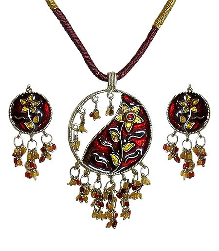 Laquered Metal Pendant with Earrings