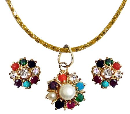 Multicolor Stone Studded Pendant with Chain
