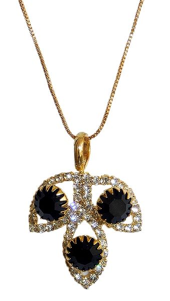 Gold Plated Chain with Black Stone Studded Pendant