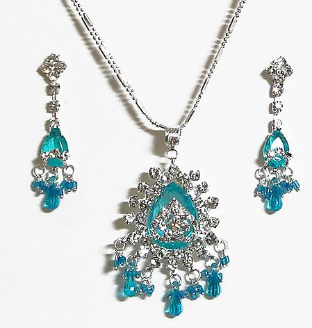 Cyan Stone Studded Pendant with Chain and Earrings