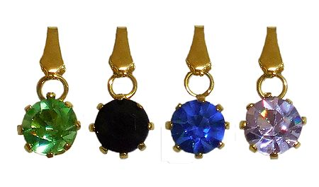 4 Multicolor Stone Studded Pendants