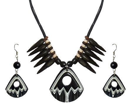 Black Corded Acrylic Necklace with Earrings