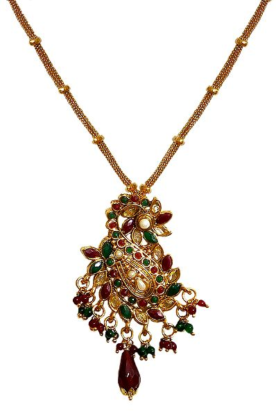 Maroon and Green Stone Studded Polki Pendant with Earrings