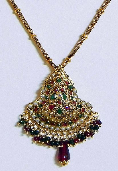 Green, Maroon and White Stone Studded Pendant