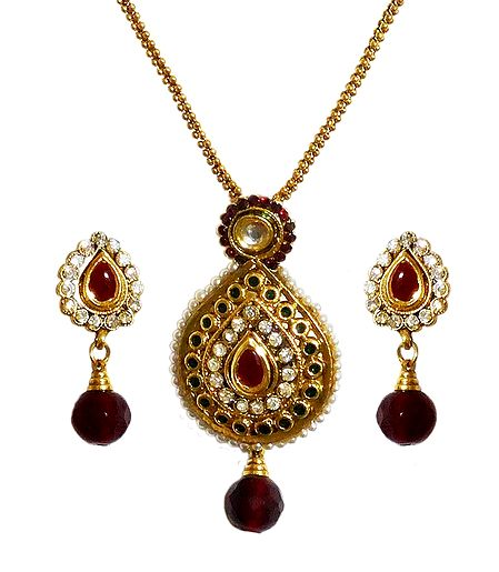 Polki Pendant with Chain and Earrings