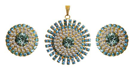 Faux Aquamarine and Zirconia Studded Pendant Set