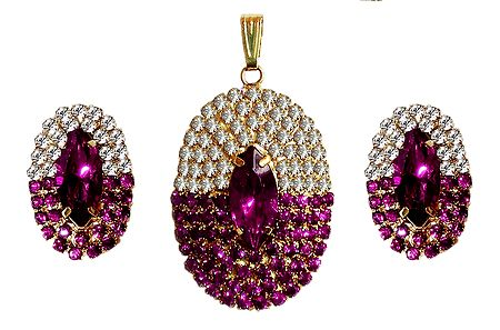 Faux Magenta Sapphire and Zirconia Pendant Set