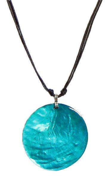 Dark Cyan Lacqered Shell Pendant