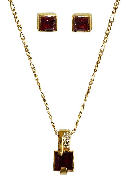 Red Stone Square Shaped Pendant with Chain and Earrings
