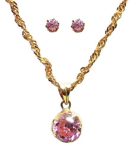 Pink Stone Pendant with Chain and Earrings