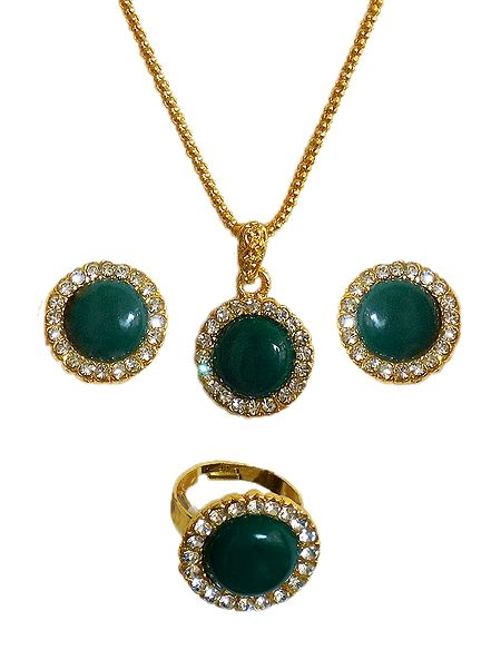 Golden Chain with Green and White Stone Studded Pendant, Earrings and Ring