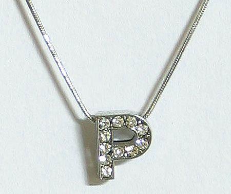 Stone Studded Alphabet P Pendant with Chain