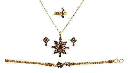 Golden Metal Chain with Stone Studded Pendant, Earrings, Ring and Bracelet