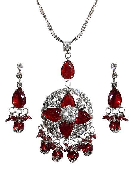 Dark Red Stone Studded Pendant with Chain and Earrings