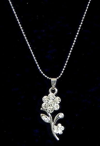 White Stone Studded Flower Pendant