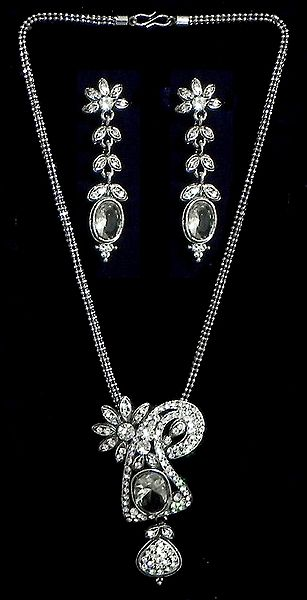 White Stone Studded Metal Pendant with Earrings