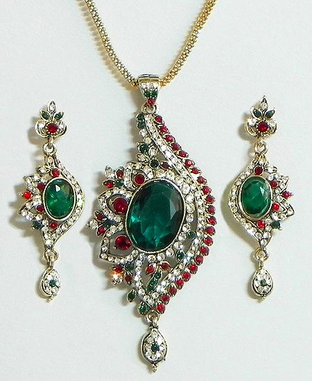 Green and White Stone Studded Pendant with Chain and Earrings