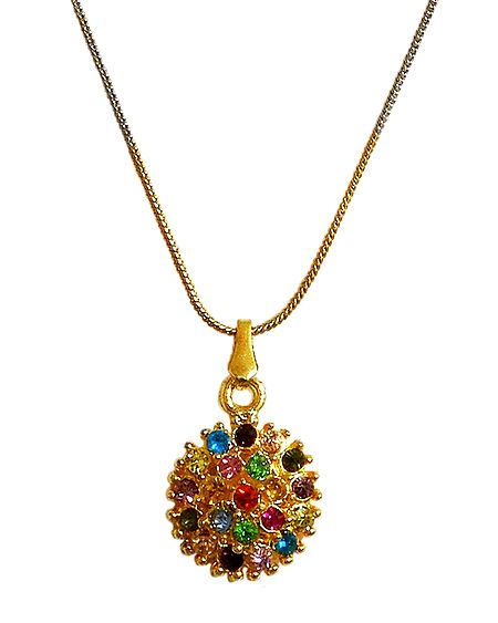 Multicolor Stone Studded Pendant with Silver and Golden Chain