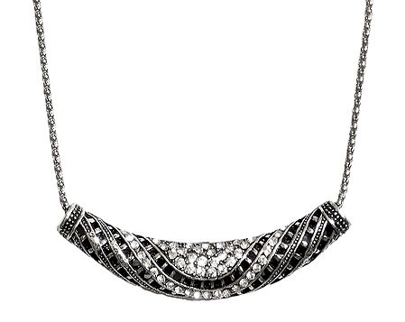 White Stone Studded Pendant with Metal Chain
