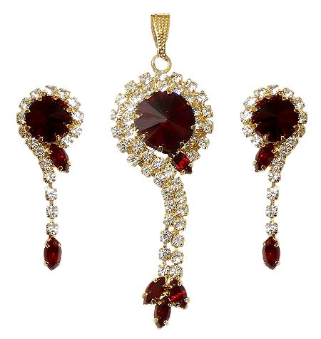 Faux Zirconia and Garnet Stone Studded Pendant and Earrings