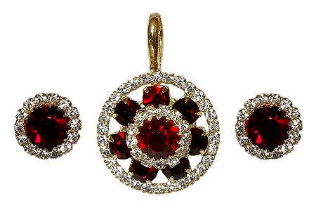 Faux White Zirconia and Garnet Pendant and Earrings
