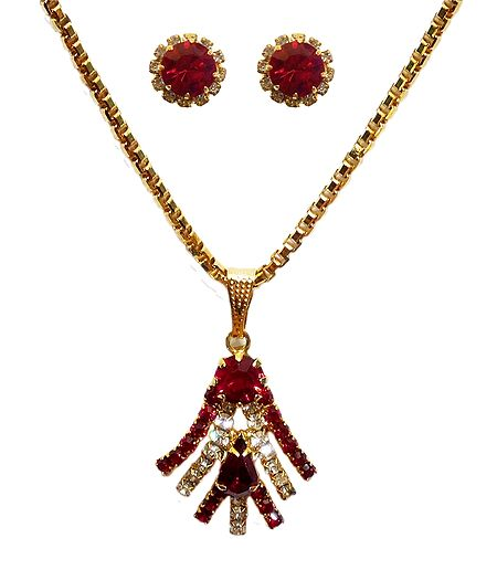 Red Stone Studded Pendant with Chain and Earrings